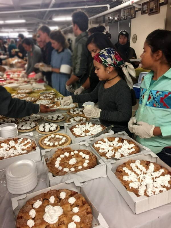 Thanksgiving at Standing Rock Community High School. Photo by Judy Wicks, November 2016.