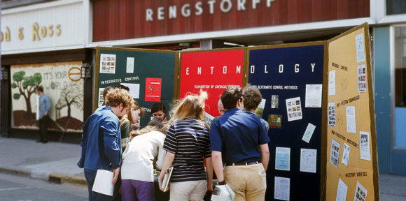 A booth set up by the Department of Entomology at the University of Wisconsin-Madison on State Street during Earth Week. Photo by Michael Sievers, 1970.