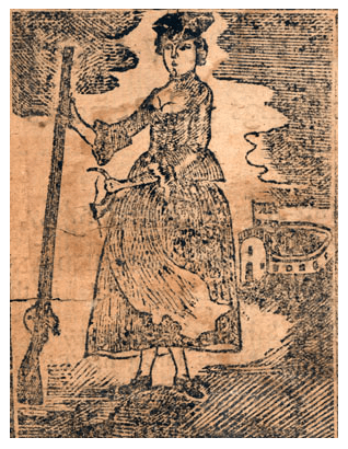 "A woodcut from a 1770 edition of the narrative of Mary Rowlandson. Image from <a href=""https://commons.wikimedia.org/wiki/File:1770_MaryRowlandson_Captivity.png"" target=""_blank"" rel=""noopener noreferrer"">Wikimedia Commons</a>."