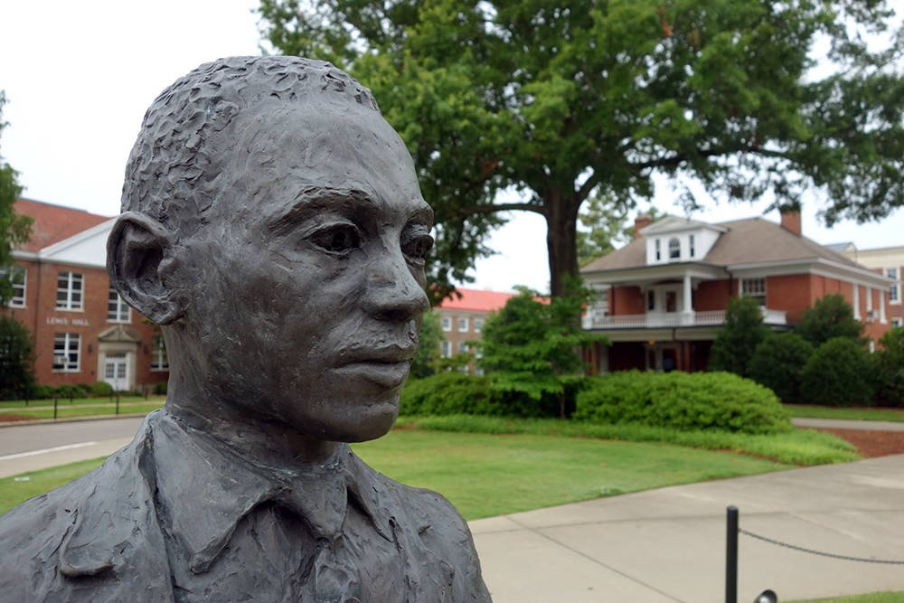 A statue of civil rights leader James Meredith, who integrated the University of Mississippi in 1962. Sculpted by Rod Moorhead, the statue stands prominently on the University of Mississippi campus, where a noose was placed around its neck in 2014 by three members of the Sigma Phi Epsilon fraternity. Photo by Brian Hamilton, July 2013.