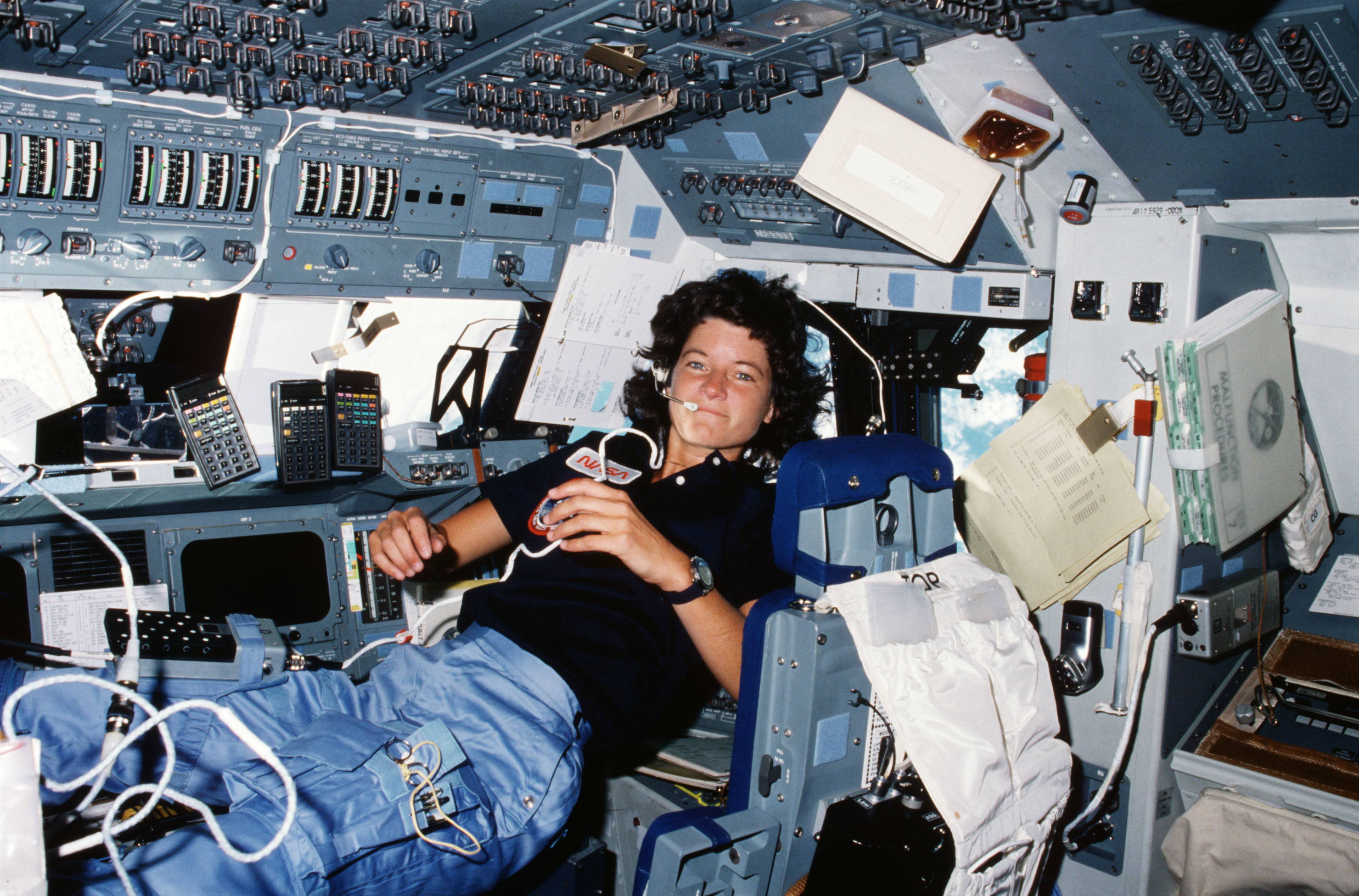 Before Sally Ride became the first American woman in space, the debate over opening the astronaut corps to women reinvigorated debates among feminists about women's equality with (vs. differences from) men. Photo by NASA, 1983.
