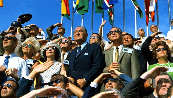 President Lyndon Johnson (left) and Vice President Spiro Agnew (right) watch the Apollo 11 Liftoff at Kennedy Space Center on July 16, 1969. Photo by NASA/Apollo 11.