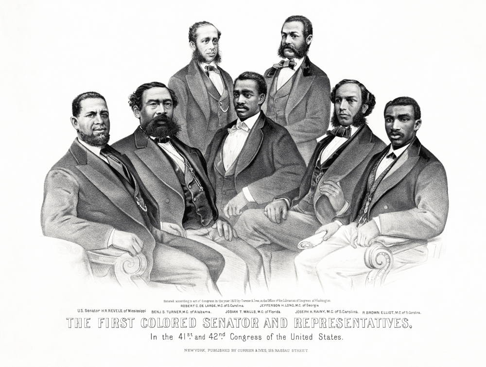"""A drawing of seven men (Hiram Revels, Ben Turner, Robert De Large, Josiah Walls, Jefferson Long, Joseph Rainy, and R. Brown Elliot) labeled """"The First Colored Senator and Representatives,"""" who are dressed formally and facing the viewer."""