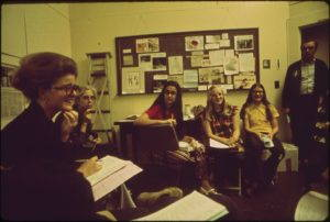A meeting at the Alabama Nature Conservancy to organize a local recycling program in Birmingham, 1972. (wikimedia common)