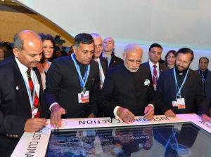 Indian Prime Minister Narendra Modi visits India Pavilion at COP21 in Paris.