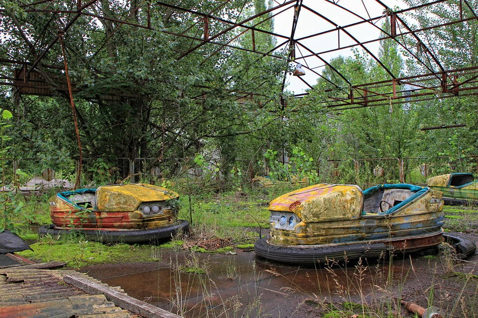Two bumper cars sits under a rusty roof frame with vegetation growing up through the rink.