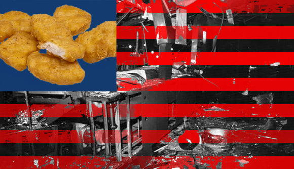 Chicken nuggets against a blue square background imposed in the upper-left corner of an image of a charred industrial kichen after a fire, run through with horizontal red stripes, suggests an image of the U.S. flag.
