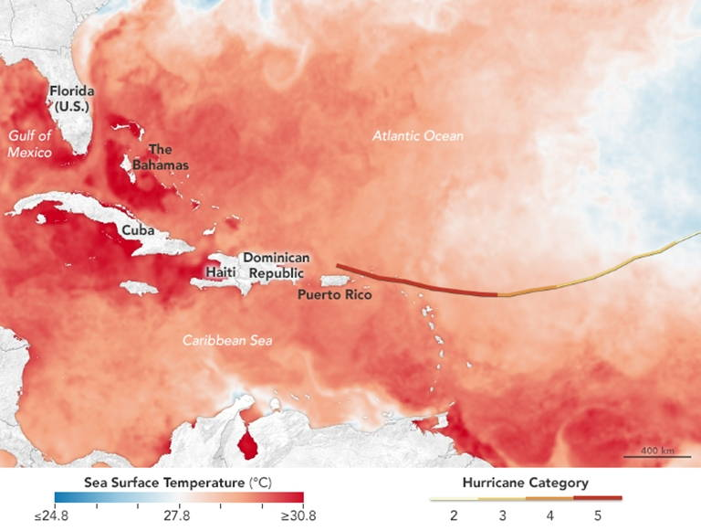 A map of sea surface temperatures shows that very warm sea surface fueled Hurricane Irma