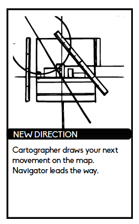 "New Direction card reads ""Cartographer draws your next movement on the map. Navigator leads the way."""