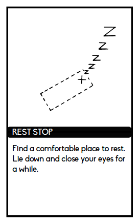 "Card from Atlas reads ""Find a comfortable place to rest. Lie down and close your eyes for a while."""