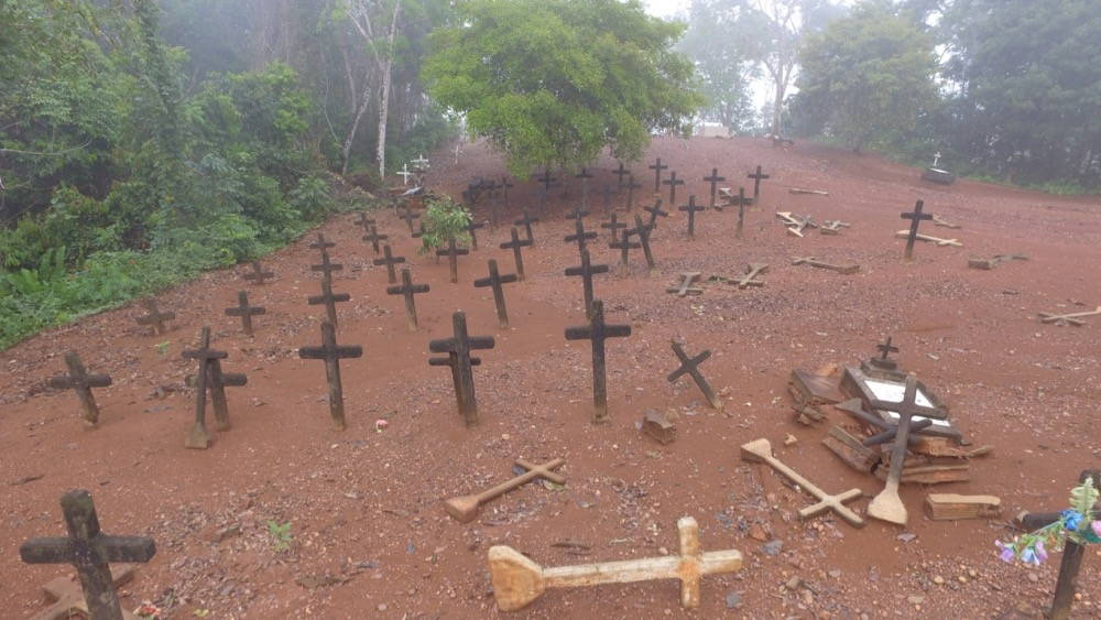 Crosses and gravestones