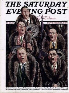 cover of Saturday Evening Post. Five college-aged boys sing while wearing raccoon fur coats.