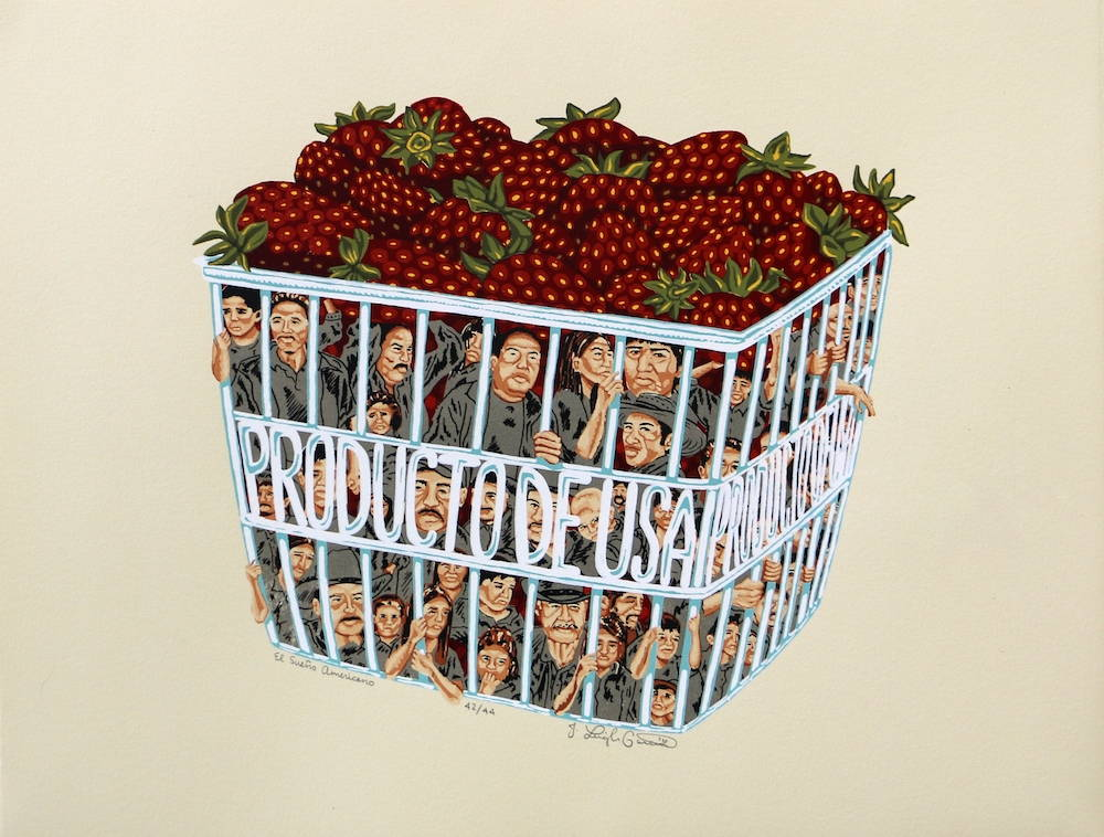 """A plastic strawberry crate contains a surface level of strawberries with figures of migrant farmworkers trapped underneath. The plastic form of the crate reads """"Product of USA""""."""