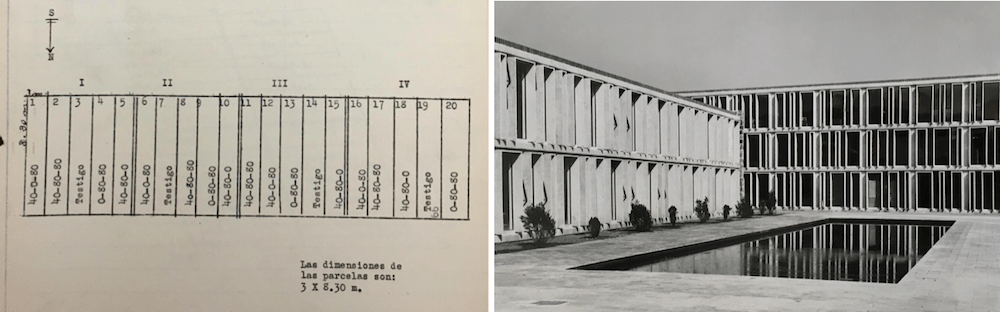 Two images showing the design of a field and the windows of a laboratory building.