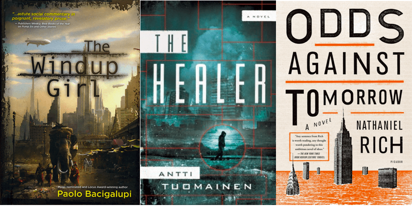 Three book covers include The Windup Girl, Odds Against Tomorrow, and The Healer.
